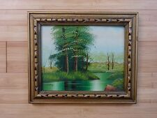 Hudson Valley Landscape Mid Century Signed  Vintage Framed Original Father's Day
