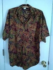 Vintage 80s Womens Anxiety Safari Print Ss Oversized Camp Shirt Sz Medium