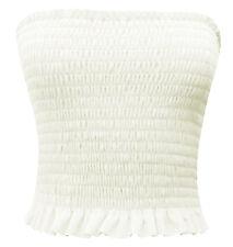 Ladies Sheering Boobtube Bralet Gather Bandeau Vest Crop Tops 8-14 White 12-14
