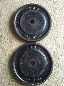 Vintage RARE 20 LB York Barbell WIDE LETTER Weight Plates 2 Standard Barbells...