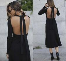ZARA Black Low Cut Back Tie Ribbed Midi  Dress S NEW BLOGGERS FAVOURITE !!!
