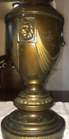 Vintage Large  Solid Bronze Brass Roman Revival Electric Lamp With 3 Lion Heads