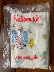 Vintage Nationwide Insurance Advertising Baby Blanket Rocking Horse Bear Ball