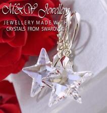 925 Sterling Silver Dangle Earrings STAR Moonlight 20mm Crystals From Swarovski®