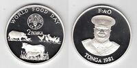 TONGA - SILVER PROOF 2 PAANGA COIN 1981 YEAR KM#73a  FAO ANIMALS