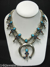 Sterling Navajo Squash Blossom Turquoise, Lapis & Coral Double Strand Necklace