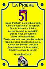 PLAQUE PRIERE PASTIS 51 RICARD CASANIS en ALU NEUVE 20X30