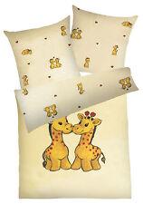 Baby Kinder Bettwäsche Weichfrottier Frottier gelb 100x135 + 40x60 Giraffe**NEU*