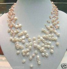 Fancy Starriness Real White & Pink Pearl Necklace