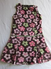 Mini Boden Jumper Dress 7 8 Year Girl Floral Velour Girl Brown Pink Green