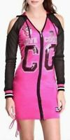 Coogi Pink Football Jersey Dress Cold Shoulder Cut Out Sporty Hooded Tunic Top