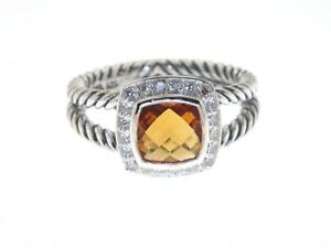 DAVID YURMAN PETITE ALBION 7MM CITRINE PAVE DIAMOND STERLING SILVER RING SZ 7