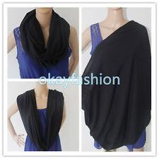100%Cotton Infinity Nursing/Breastfeeding Scarf(Solid Color Black)Baby Cover