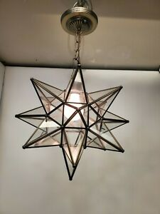 Vintage Leaded Glass Star Burst Hanging Light Fixture Pendant Ceiling Atomic