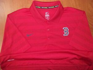 Nike MLB Boston Red Sox Baseball Dri-Fit Performance Golf Polo Shirt XL ~NEW~