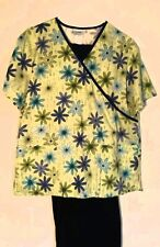 Womens Scrub Set Size M Navy Blue Pants Light Green Floral Top