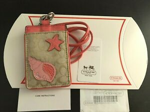 Coach ID Badge Lanyard w/ Card Slot in Tan Signature Canvas Sea Shell - Rare NWT