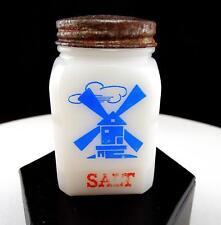 "MILK GLASS RED WHITE AND BLUE WINDMILL 3 1/8"" SALT SHAKER"