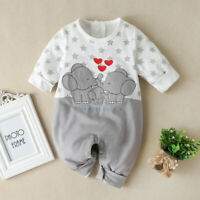 Infant Baby Boys Girls Long Sleeve Cartoon Star Print Romper Jumpsuit Clothes