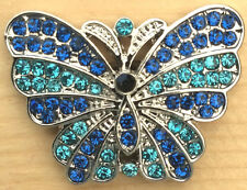 }+ Snap Chunk Butterfly Design With Blue Sets Charm Fit Snap Bracelet & Necklace
