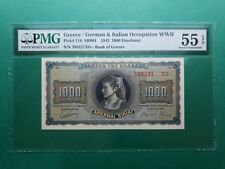 1942 GREECE OCCUPATION WWII 1,000 DRACHMAI P#118 PMG 55 EPQ ABOUT UNC