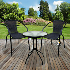 bfefccfb6600 Marko Outdoor 3 and 5 Piece Bistro Set Grey Wicker Rattan Woven Chairs With  Roun