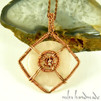 Rose Quartz Crystal Heart Pendant Copper Wire Wrapped Handcrafted Necklace Natural Gemstone by MBA Handmade Crystal Healing