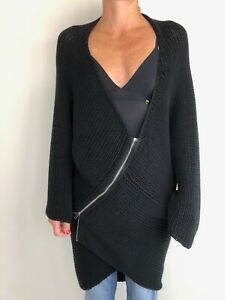 ALISTAIR TRUNG black asymmetric zip front cardigan free size