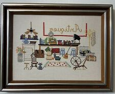 Vtg Needlepoint Antique Store Shop Old Lady Completed Finished Cross Stitch