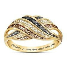 Elegant Women Jewelry Promise Wedding Party Rings Gold Crystal Ring Size 6