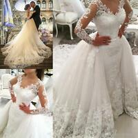White Wedding Dresses Bridal Gowns Long Sleeve Ball Gown Train Lace Custom Size