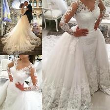 White Long Sleeve Ball Gown Train Lace Wedding Dresses Bridal Gowns Custom Size