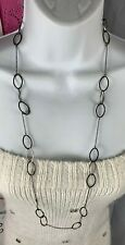 long shiny black thin link loop Costume Fashion Jewelry Necklace Ny 36 in