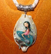 Genuine Russian hand painted stone pendant CUTE GIRL on FISH signed Shenshin ART