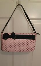 """Beverly Feldman Too Much Is Not Enough Pink with Black Polka Dot Purse 10""""x6"""""""