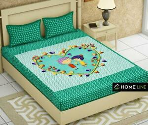 100% cotton Queen PANNEL Printed Bedsheet With Pillow Cover | BEDDING SET