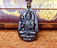 Pendentif BOUDDHA fleur de lotus Pierre ONYX Sculpté- Main collier 67 perle
