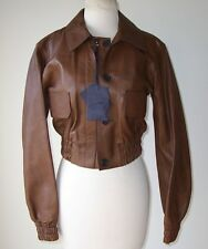 PRADA Brown Leather Button Biker Bomber Coat Jacket 44 6 8