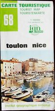 IGN FRANCE 1980 COLORED CONTOURED PAPER MAP of TOULON NICE No. 68 1:100 000