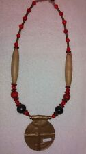 "Handmade 26"" Necklace Brass, Wood, Coral, NEPAL"
