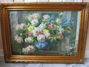 VTG OIL PAINTING HEAVY OIL 43 X 31 INCHES CANVAS - Floral with Roses