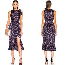 Cinq a Sept Women's Sz 4 Nanon Silk Dress Tea Rose & Eclipse Midi Ruffle Trim
