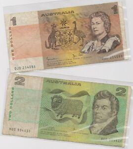 Mazuma *F781 Australia QE 1969 $1 DJD254088 AVF & $2 HGG994631 VF 2Pc