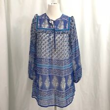ASOS Chiffon Tribal Print Ethnic Boho Blue Tunic Dress S