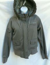EMPYRE Mens Womens Gray Shearling Faux Fur Hooded Skull Cargo Jacket Coat S