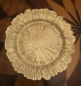 """SET of FOUR 13"""" GOLD Round Acrylic Reef Motif Charger Plates"""
