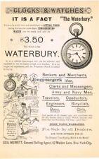 1885 Waterbury Pocket Watch Vtg Print Ad
