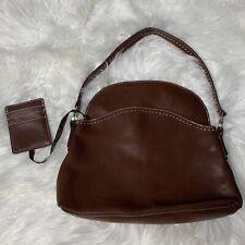 Vtg Tommy Hilfiger Brown Leather Hobo Shoulder Bag Purse