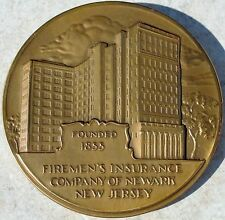 "1955 FIREMEN'S INSURANCE COMPANY NEWARK NJ BRONZE MEDAL-3"" MEDALLIC ART CO. NY"