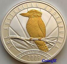 2009 1 Dollar Australian Kookaburra 1 oz .9999 Gold Gilded Silver Coin